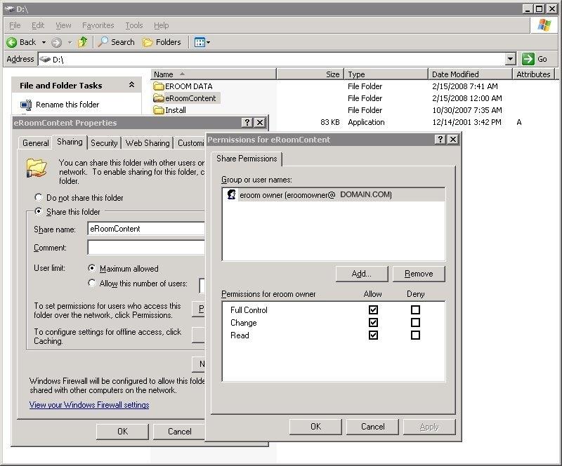 eRoomContent Folder Permissions
