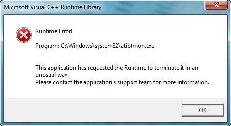 atibtmon exe Runtime Error! [Resolved] – it megocollector com