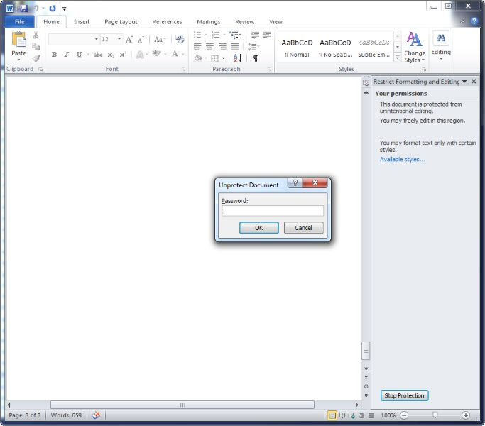 how to remove password restriction from word document